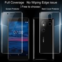 2 PCS cobertura Completa para Nokia 7 Nokia7 Completo protetor de Tela e tampa Traseira protetor Imak Todos de Pé protetor de Hidrogel filme