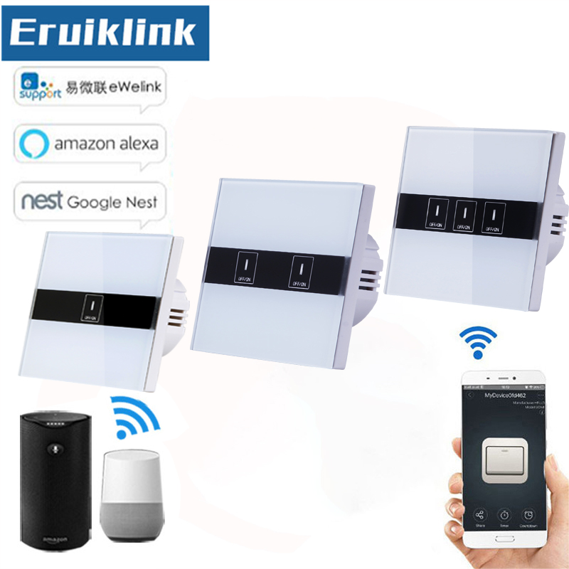 EU/UK Standard Wifi Control Switch,eWelink APP Remote Control Light Switch via Android/IOS for Smart Home Wall Touch switch kerui smart socket eu us uk au standard wifi ios android app control intelligent for home security alarm system outlet switch