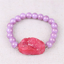 1PC Womens Jewelry Beaded Bracelet Drusy Connector Cluster With Natural Stone Agates Gift