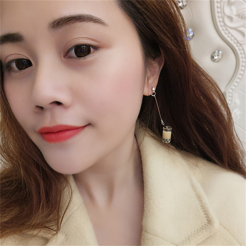 Korean Japan Milk Tea Cup Cute Drink Woman Girls Dangle Drop Earrings Fashion Jewelry LAF in Drop Earrings from Jewelry Accessories