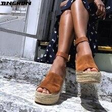TINGHON Summer Brown Flock Women Platform Sandals Peep Toe Wedge Espadrilles Buckle Strap Comfortable