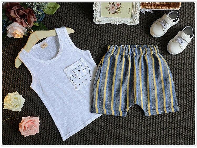 2 Peças de Vestuário das crianças Set 2016 Verão Novo Padrão Coreano Das Mulheres Dos Homens Dos Desenhos Animados Do Bebê Colete T T shirt Calções Tarja você Atender - 3