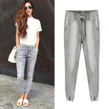2017 Hot Sale Brand Women Street Style Vintage Bleached Fashion Jeans Mid Waist Slim Elastic Cotton Denim Jeans Pants Trousers
