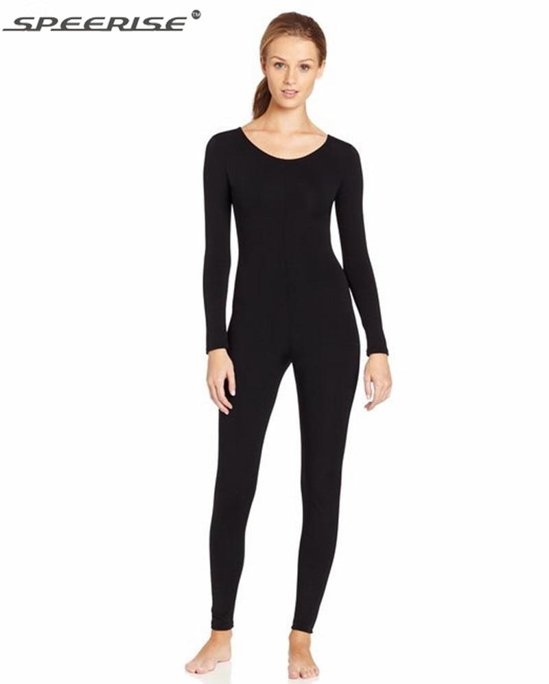 Women Black Long Sleeve Unitard Bodysuit Spandex Lycra ...