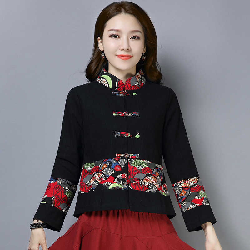 0e24796ec Traditional Chinese Style Women's Short Coat Autumn Retro Button Improved  Printed Long Sleeve Cotton Linen Tang