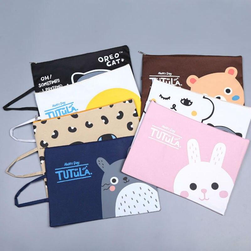 7pcs/lot A4 Hand Zipper File Bag Folder Cartoon File Kit Oxford Bag School Student Office Supplies Free Shipping