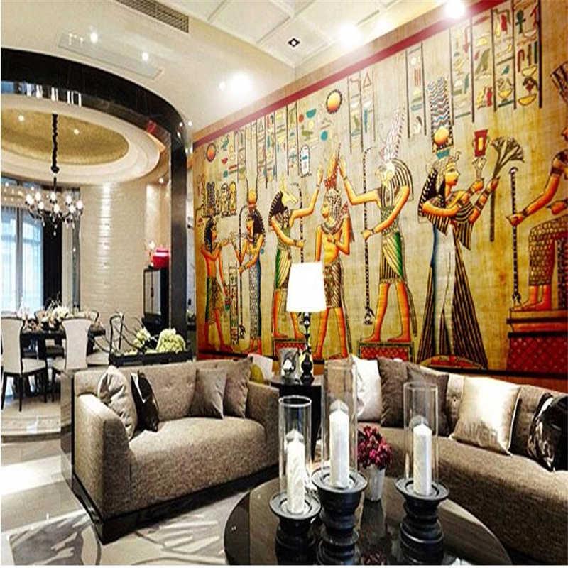 Beibehang مخصص صور خلفيات بار KTV شخصية ريترو الناس فرعون مصر أهرامات ثلاثية الأبعاد جداريات للجدران ثلاثية الأبعاد