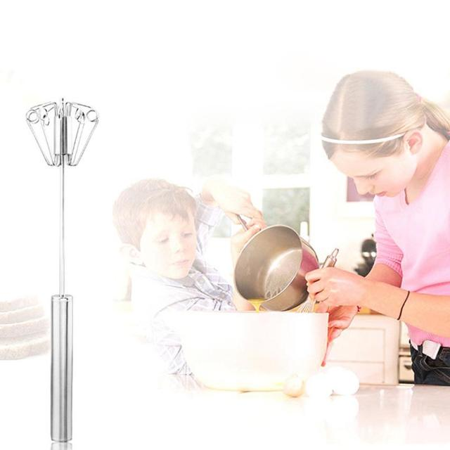 Kitchen Stainless Steel Semi-automatic Egg Beater Whisk Mixer