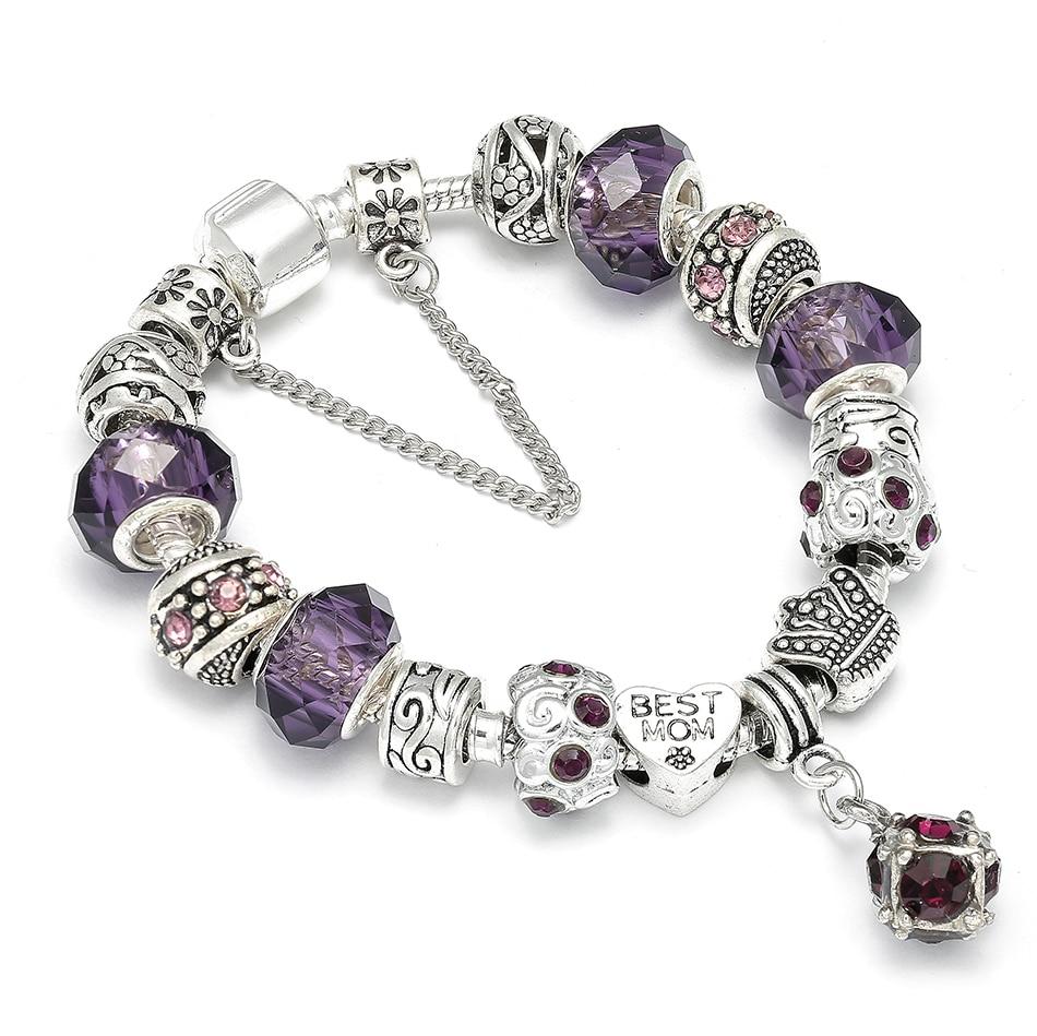 European Style Silver Charm Bracelet with Purple Crystal Ball Brand Bracelet For Mom Best Gift Fit Women Wedding DIY Jewelry пандора браслет с шармами