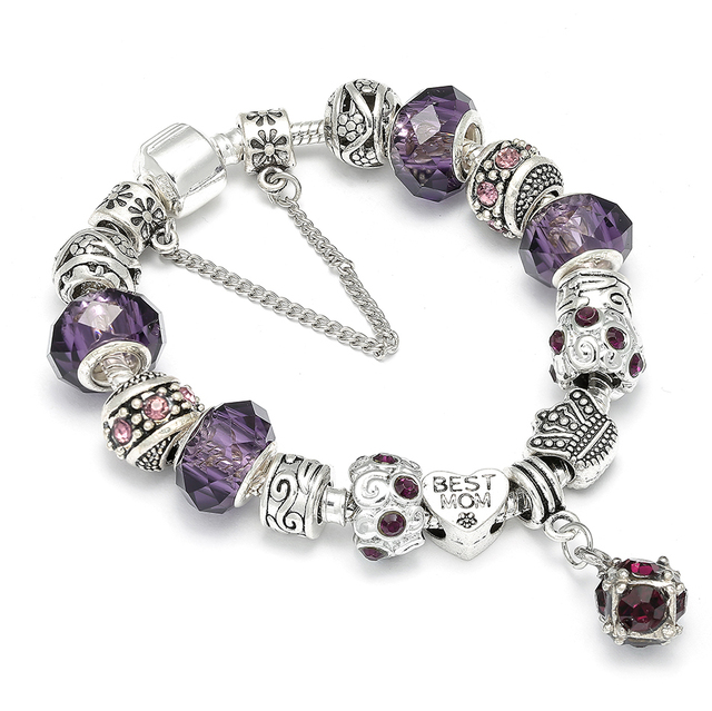 European Style Silver Charm Bracelet With Purple Crystal Ball Pandora For Mom Best Gift Fit