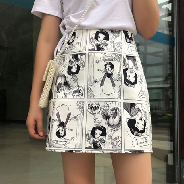 Snow White Cartoon Print Mini Skirts Summer High Waist Pencil Skirt Beach Warp Skirts Design A-Line Korean Vintage Slim Fit Sexy 2