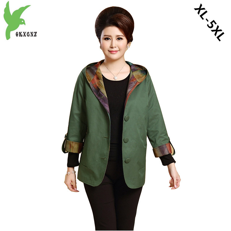 Spring Autumn Women   Trench   New Fashion Solid Color Hooded Casual Tops Plus Size Middle aged Mother Outerwear Coat OKXGNZ A694