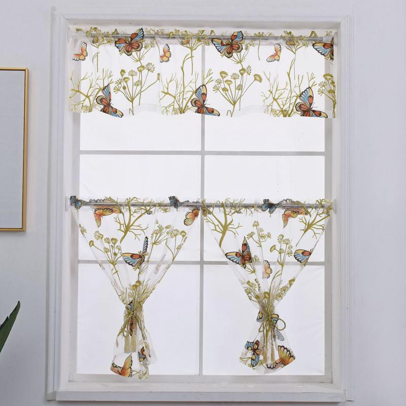 Short Butterfly Curtains tulle For Kitchen Tulle  living room windows Decoration