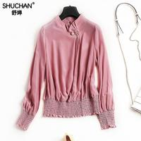 SHUCHAN 100 Silk Blouse Shirt Long Sleeve Stretch Waist Office Lady Work Wear Appliques Thin 2018