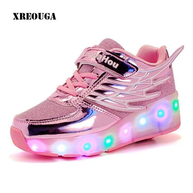 742fa81bae3b Nuovo Alato Formatori Bambini Sneakers Scarpe Con Luci Led Ruote Per Bambini  Ragazze Ragazzi Casual Da