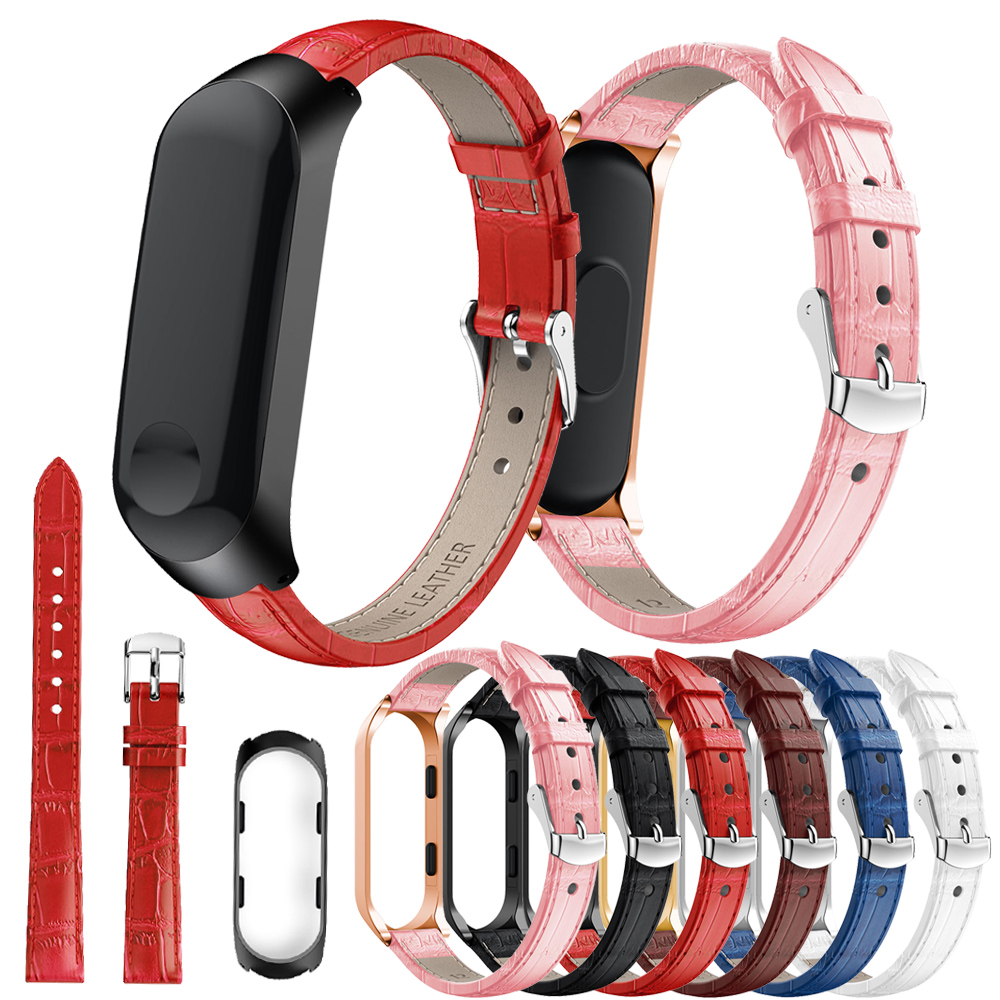 Watchband for Xiaomi Mi Band 4 Wrist Strap Leather Watch Band for Xiaomi Mi Band 3 Bracelet Miband 4 Wristband with Metal Case