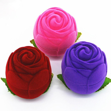 1pcs Rose flower Flocking Box  jewelry packaging  Wedding Engagement Ring Box For Earrings Jewelry Display Gift Box Holder цена и фото