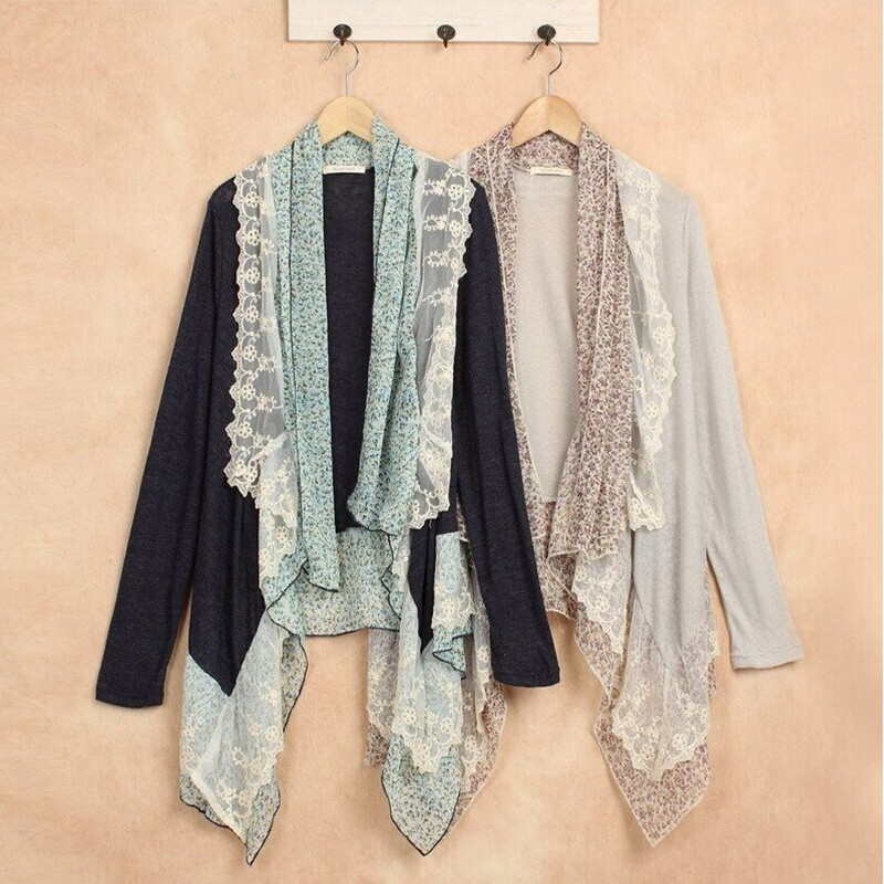 Spring Harajuku Mori Girl Vintage Shirt Women Clothing Lace Cotton Full Sleeve Asymmetrical Knitted Soft Blouses Cardigan A015