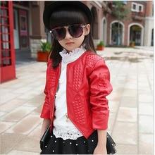 Spring Autumn Kids Girl Leather Jacket Children's Clothing Cardigan Zipper Red/Black Jacket&Coat Girls Fashion Outwear4-15Years3