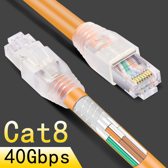 cncob rj45 8p8c 40gbps ethernet cable cat8 home router high-speed network  jumper internet connection cable