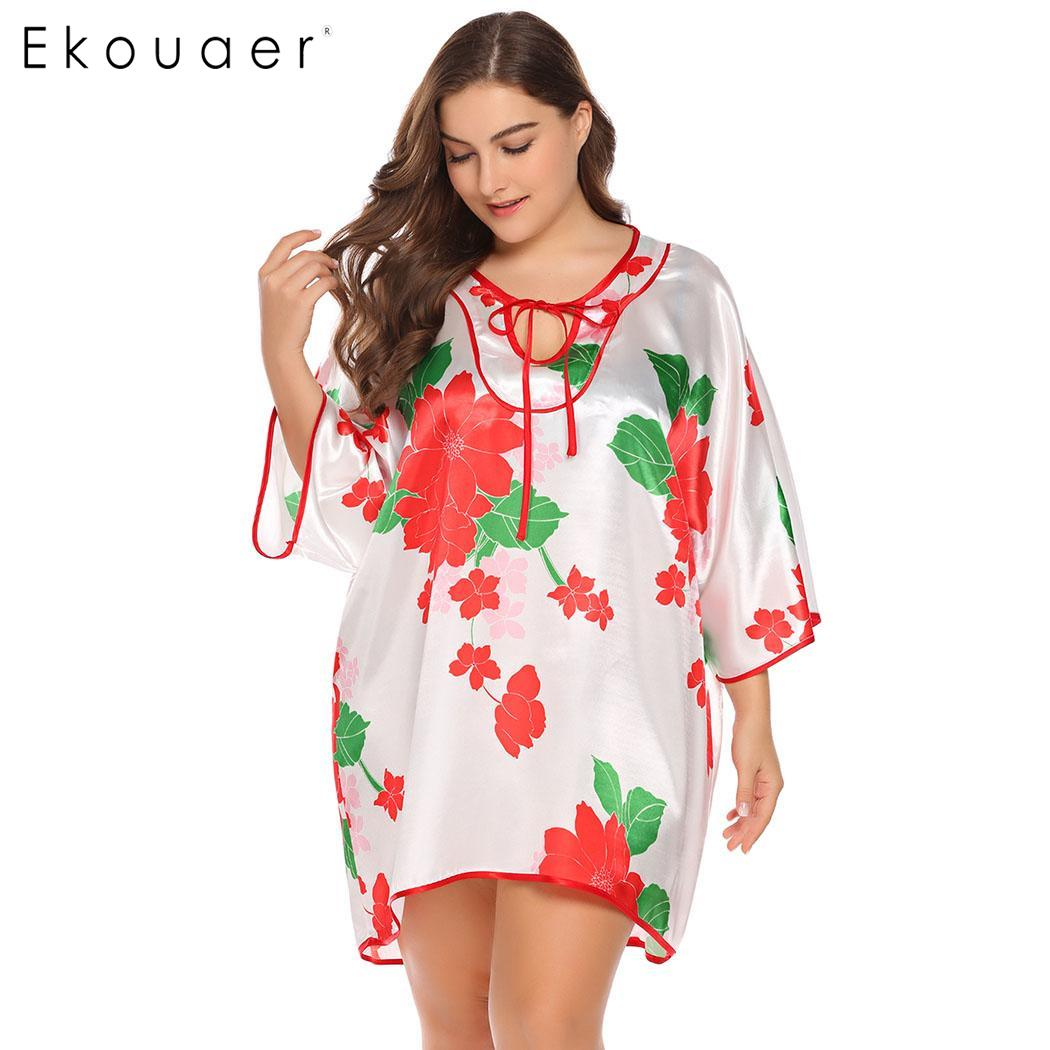 Ekouaer Women Plus Size Satin   Nightgown     Sleepshirts   3/4 Sleeve Lace Up Floral Print Casual Loose Irregular Nightdress Sleepwear