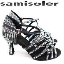 цены на Samisoler Glitter Rhinestone Latin Dance Shoes Women Satin Salsa Dancing Shoes For Woman Tango Jazz Ballroom dance shoes women  в интернет-магазинах