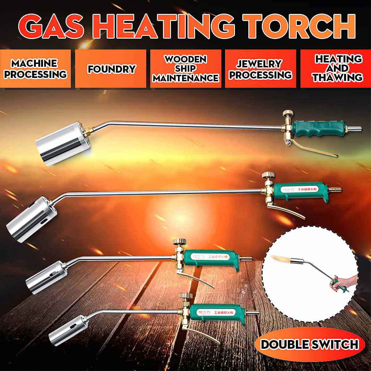 Stainless Steel Gas Heating Torch Liquefied Gas Welding Torch Road Pipe Metal Heating Guns Plumber Ignition Soldering Machine