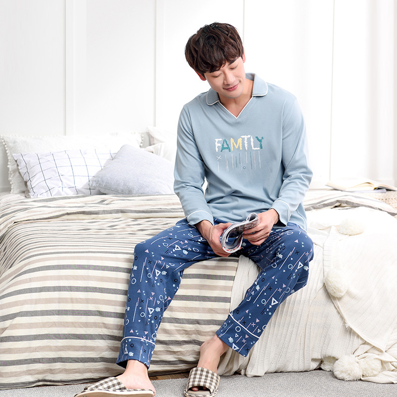 Men Korean large size men youth pajamas 2019 spring and autumn cotton lapel long sleeve pants new men pajama sets pajama set(China)
