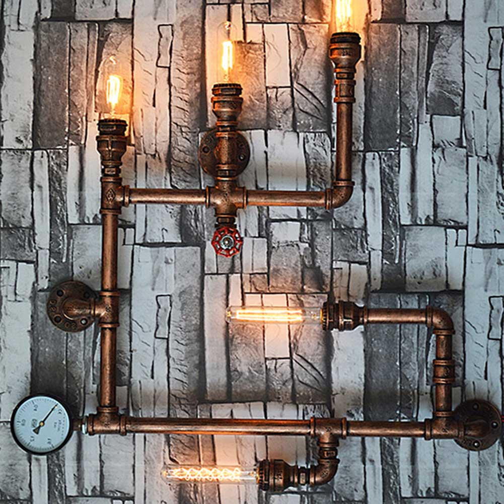 5 Lights American Vintage Aisle Industrial Water Pipe Wall Lamp E27 Sconces Lights Bar Restaurant Edison Bulb Retro Wall Light-in LED Indoor Wall Lamps from Lights & Lighting    3