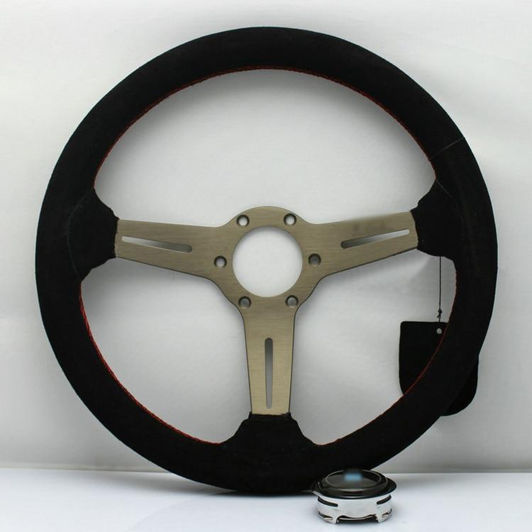 Ipoboo Новый Универсальный спортивный 13067A/350 мм замши глубокое блюдо рулевое колесо Красные линии