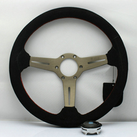 Ipoboo New Universal Sport 13067A/350mm Suede Leather Deep Dish Steering Wheel Red Lines