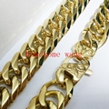 New Fashion Strong Men's Jewelry 316 Stainless Steel Gold Cuba Link Chain Huge Heavy 16mm Nacklace/Bracelet 7-40inch Choose