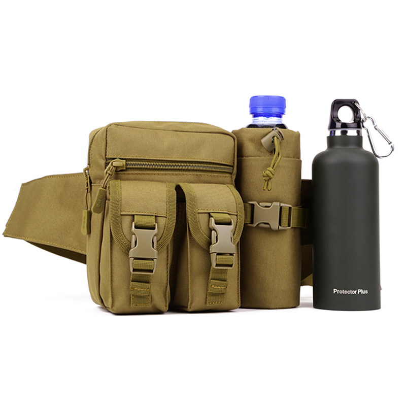 Protector Plus Men's Woodland Tactical Waist Pack Pouch With Water Bottle Pocket Holder Waterproof Molle Fanny Hip Belt Bag Q1