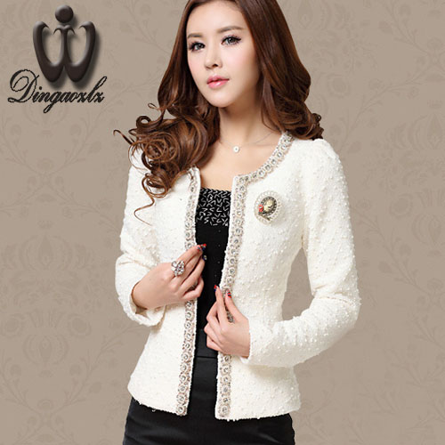 Women Jacket Short design Casual outerwear Autumn-Winter coat Beaded Diamond Slim Long sleeve Plus size Small jacket M-XXXL