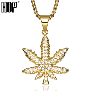 HIP Hop Bling Iced Out Crystal Cannabiss Maple Leaf Charm Necklaces Pendant Gold Filled Titanium Necklace for Men Sports Jewelry