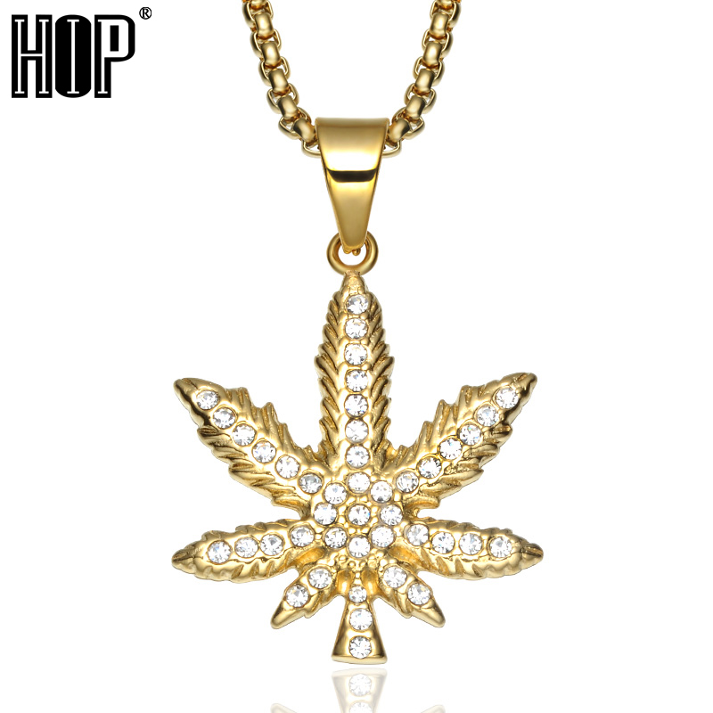 HIP Hop Bling Iced Out Crystal <font><b>Cannabiss</b></font> Maple Leaf Charm Necklaces Pendant Gold Filled Titanium Necklace for Men Sports Jewelry image