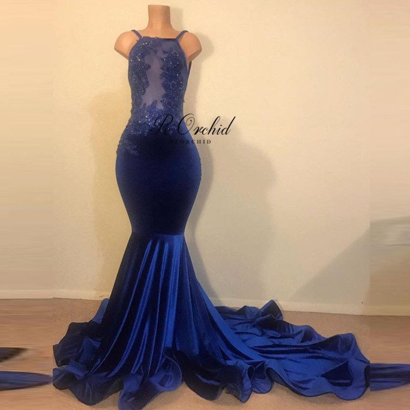 PEORCHID Halter Sexy Royal Blue Mermaid Prom Dress For Black Girls Vestidos De Graduacion 2019 Women Velvet Long Evening Gowns