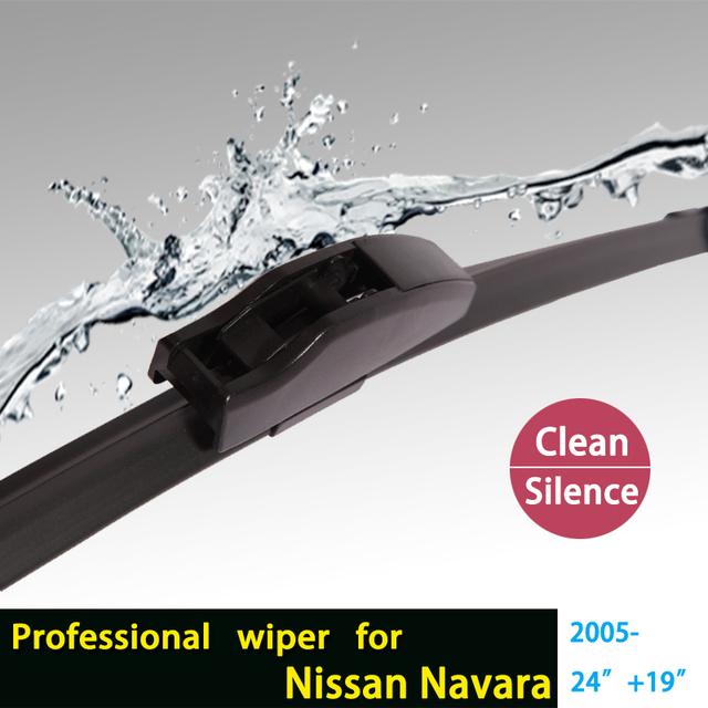 """Escovas para Nissan Navara (A Partir De 2005) 24 """"+ 19"""" fit padrão J gancho limpador braços só HY-002"""