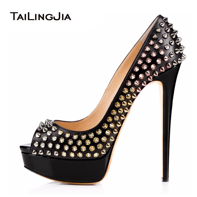 d701a80f9df3 Women High Heel Pumps 2018 Studs Platform Heels Rivets Shoes Sexy Black Sky-High  Heels Ladies Peep Toe Stilettos Plus Size