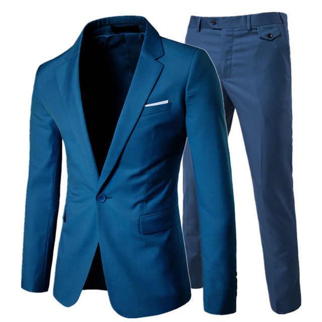 Роскошный мужской свадебный костюм мужские приталеные блейзеры мужские костюмы деловые Официальные Вечерние синие классические черные блейзеры