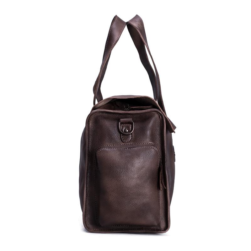 Handmade Vegetable Tanned Leather Tote Bag Travel Bag Overnight Bag 3