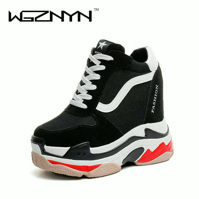 WGZNYN New Lace Up Women Casual Shoes Height Increasing Platform Flats Women Shoes 2018 Fashion Sneakers Wedges Shoes woman W007