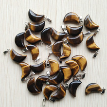 2019 fashion top quality natural stone tiger eye crescent moon charms pendants for jewelry making Wholesale  50pcs/lot free
