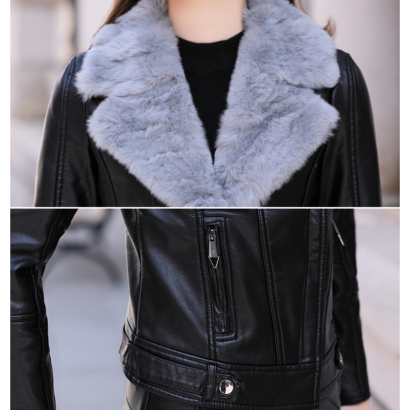Black D'hiver Mode 2018 Femmes De Automne Une Hiver Tops Court gray Épaississement Vestes Nouvelle Plus Velours Fourrure Pu Zs589 En Cuir Manteau RxgWTdd