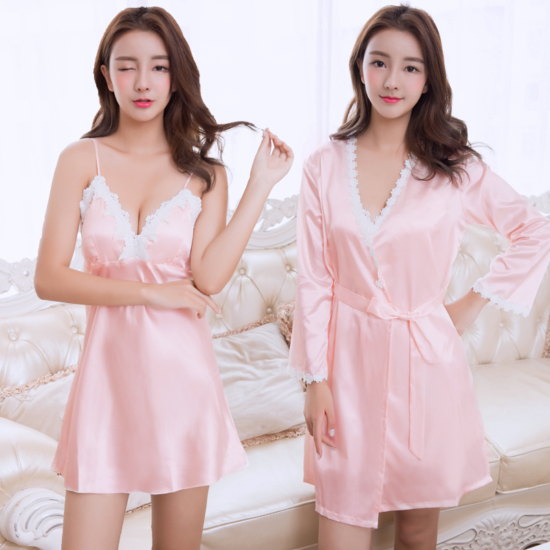 Spring women 39 s silk night skirt sexy suspender with breast pad V neck nightgown summer silk robe twinset lace nightdress in Nightgowns amp Sleepshirts from Underwear amp Sleepwears