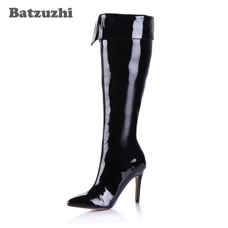 Batzuzhi-100% Brand New Sexy Women Knee High Boots Pointed Toe Black Patent Leather Long Boots Botas Mujer, Big Size 35-43 batzuzhi 2018 handmade women shoes pointed toe 12cm long boots ladies white knee high party botas mujer winter big size 43