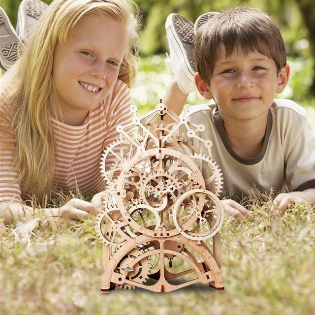 Robotime 4 Kinds 3D Mechanical Wooden Model for Kids
