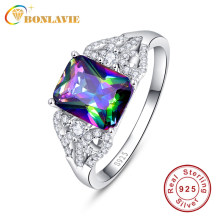 BONLAVIE 3ct Sparkling Rainbow Topaz แหวนของแท้ 925 (China)