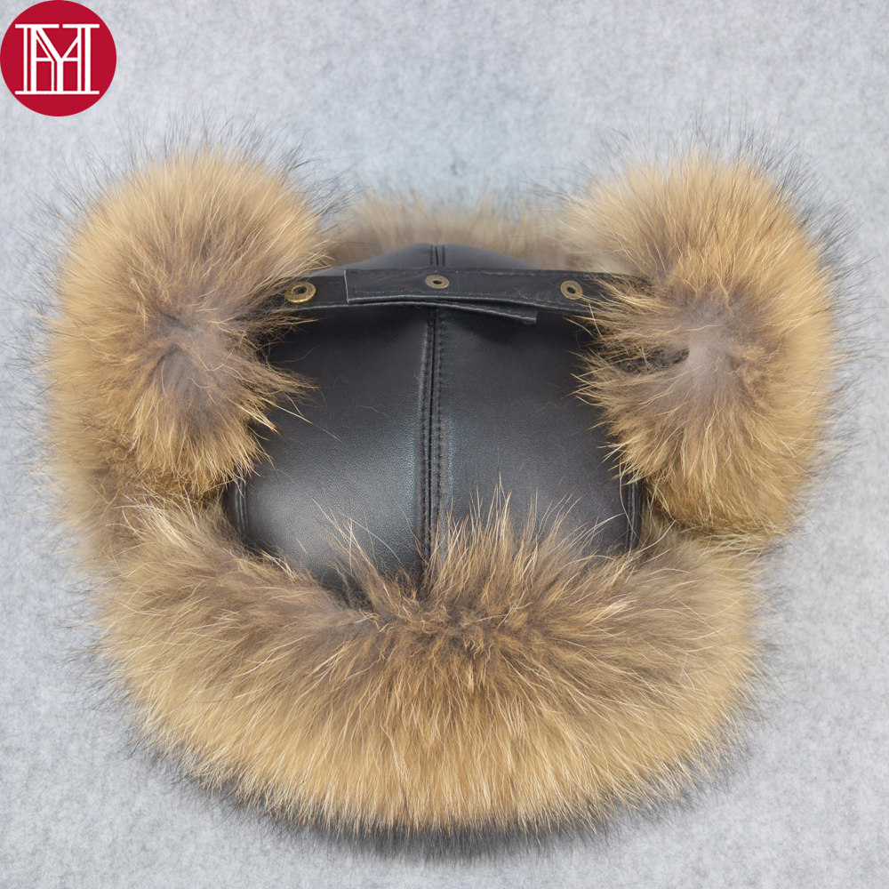 brand unisex winter russian real fox fur hat warm soft quality real raccoon fur bombers hats luxury real sheepskin leather cap(China)