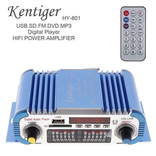 Cheap KENTIGER 2 Channels Hi-Fi Mini Digital Motorcycle Car Stereo Power Auto Power Amplifier Audio MP3 Music Player Support USB FM
